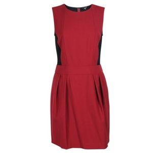 Theory Maroon and Black Shift Dress with Pockets